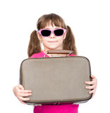 Girl with suitcase. isolated on white background Stock Images