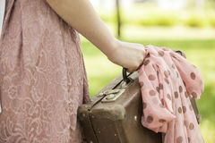 Girl with suitcase Royalty Free Stock Images
