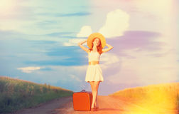 Girl with suitcase Stock Photo