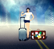 Girl with Suitcase on the Road Stock Image