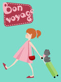 Girl with suitcase, toy bear and Bon Voyage Stock Photography