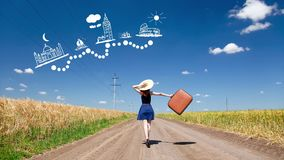 Girl with suitcase and travel route. Redhead girl with suitcase and animated international travel route at outdoor stock video