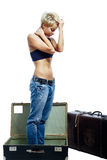 Girl and suitcases Stock Image