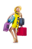 Girl with suitcases. Isolated on white Stock Photo