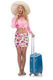 Girl with suitcases Stock Photo
