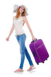 Girl with suitcases. Isolated on white Stock Images