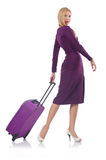 Girl with suitcases Stock Photos