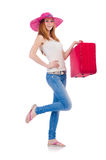 Girl with suitcases Stock Images