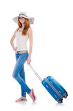 Girl with suitcases. Isolated on white Royalty Free Stock Images