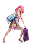 Girl with suitcases Royalty Free Stock Photos