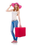 Girl with suitcases Stock Photography