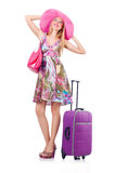 Girl with suitcases Royalty Free Stock Images