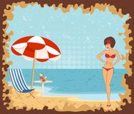 Girl on a summer beach Royalty Free Stock Photography
