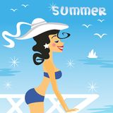 Girl summer. Girl in bikini on the balcony vector illustration Stock Image