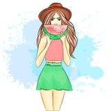A girl on a summer break. royalty free illustration