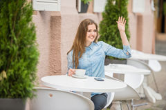 Girl in summer cafe Royalty Free Stock Photo