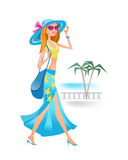 Girl on summer day is resting on tourist trip. Royalty Free Stock Photo