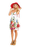 Girl in summer dress and hat Royalty Free Stock Photography
