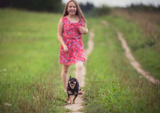 Girl in summer field run with dog Stock Image