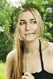 Girl in summer forest Stock Photo