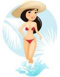 Girl in summer hat Stock Image
