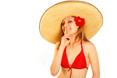 Girl in the summer hat Stock Photography