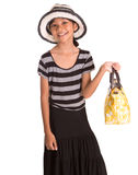 Girl With Summer Hat, And Handbag I Royalty Free Stock Photos