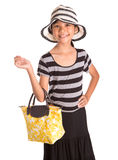 Girl With Summer Hat, And Handbag III Royalty Free Stock Photo
