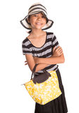 Girl With Summer Hat, And Handbag IV Royalty Free Stock Photo