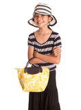 Girl With Summer Hat, And Handbag V Stock Photos