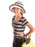 Girl With Summer Hat, And Handbag VII Royalty Free Stock Images