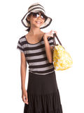 Girl With Summer Hat, Sunglasses And Handbag IX Royalty Free Stock Photo