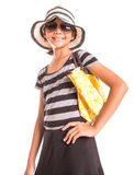 Girl With Summer Hat, Sunglasses And Handbag VII Royalty Free Stock Photo