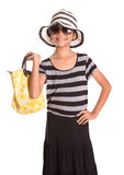 Girl With Summer Hat, Sunglasses And Handbag VIII Royalty Free Stock Image