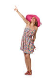 The girl in summer light dress and hat isolated on white Royalty Free Stock Photography