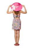 The girl in summer light dress and hat isolated on white Stock Photography