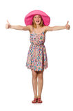 The girl in summer light dress and hat isolated on white Royalty Free Stock Image