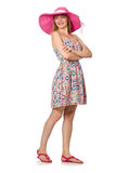 Girl in summer light dress and hat isolated on white Royalty Free Stock Images