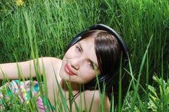 Girl in summer meadow Stock Photo