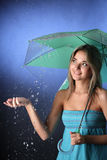 Girl in the summer rain Royalty Free Stock Photo