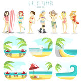 Girl of summer vector pack Royalty Free Stock Image