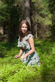 Girl in summer wood Royalty Free Stock Photo
