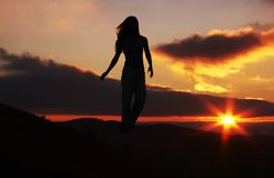 Girl and sun Royalty Free Stock Photography