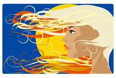Girl in the sun. Portrait of the blond hair girl in the sun Stock Image