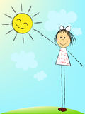 Girl with sun. Pretty Girl reaches for the sun Stock Image