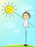 Girl with sun Stock Image