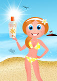 Girl with sun cream Stock Photography