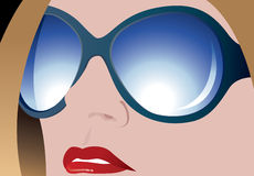 Girl with sun glasses. Vector illustration of girl with sun glasses Stock Photo