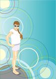 The girl in sun glasses in abstraction Royalty Free Stock Images