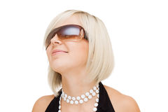 Girl in sun glasses on white background Royalty Free Stock Photos